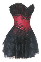 Atomic Red and Black Vintage Style Corset & Pettiskirt Set - Small Only