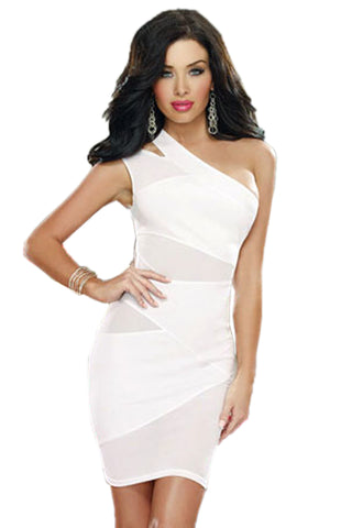 White Gauze One Shoulder Dress