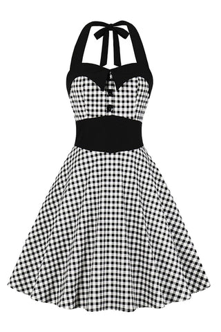 Vintage Gingham Halter Swing Dress