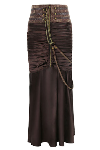 Steampunk Brown Cummerbund Satin Skirt