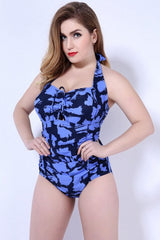 Plus Size Sprayed One Piece Swimsuit