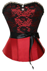 Satin and Black Floral Lace Overbust Corset