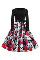 Black Ghost Flower Swing Dress