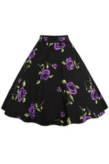 Blossomed Purple Rose Rockabilly Skirt
