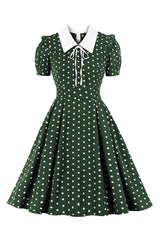 Green Polka Dot Lacing Swing Dress
