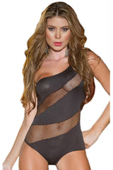 Black One Shoulder Fishnet Teddy