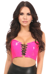 Hot Pink Patent Short Bustier Top