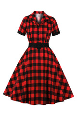 Retro Red and Black Plaid Belted Dress