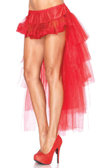 Atomic Long Red Tulle Bustle Skirt - Large Only