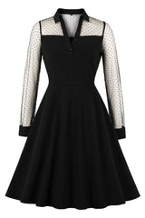 Gothic Polka Dotted Sleeved Midi Dress