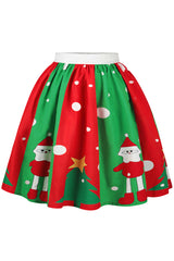Red and Green Santa Skater Skirt