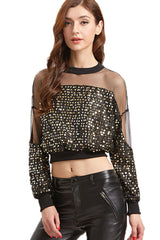 Glitter Sequined Long Sleeve Crop Top