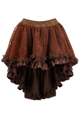 Brown Satin Tiered Lace Skirt