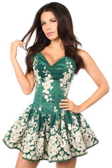 Dark Green Floral Steel Boned Short Corset Dress