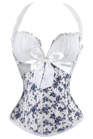 Blue and White Floral Overbust Corset