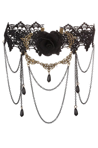 Black Lace And Rose Choker Necklace
