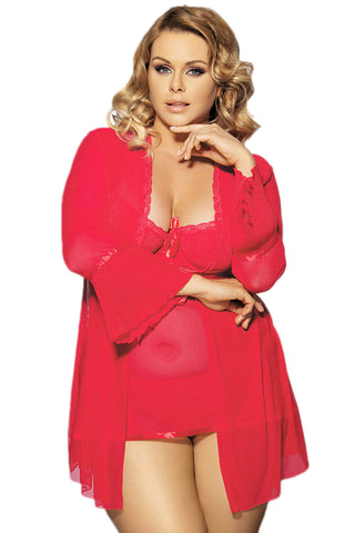 Red Bell Robe And Babydoll Set