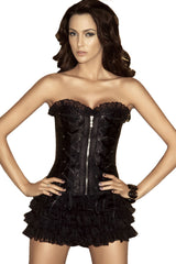 Atomic Black Strapless Corset With Matching Ruffle Shorts - Small Only
