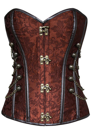 Brown Steel Boned Jacquard Corset