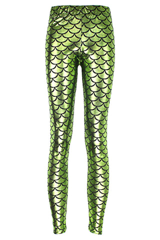 Atomic Green Fish Scale Low Waist Leggings
