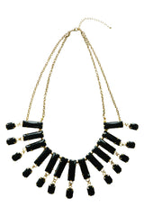 Atomic Black Crystal Bib Necklace