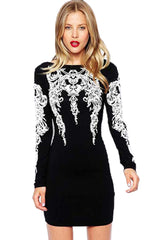 Black and White Embossed Dress
