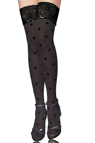 Black Polka Dot Thigh High Stockings