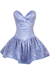 Top Drawer Regal Light Blue Steel Boned Corset Dress