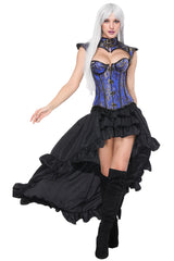 Blue Decorative Overbust Corset and High-Low Skirt Set