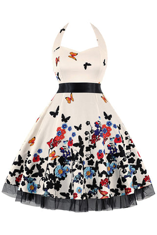 Beige Butterfly Garden Dress