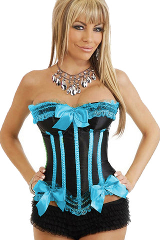 Atomic Teal and Black Striped Burlesque Corset
