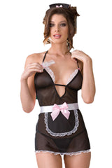 Black Sheer French Maid Costume