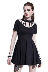 Strapped Collar Gothic Dress