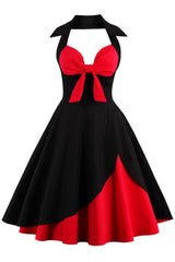 Red and Black Rockabilly Cocktail Dress