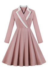 Elegant Pink Turndown Collar Midi Dress