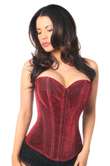 Red Glitter Front Zipper Corset