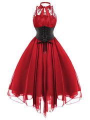 Red Gothic With Corset Dress