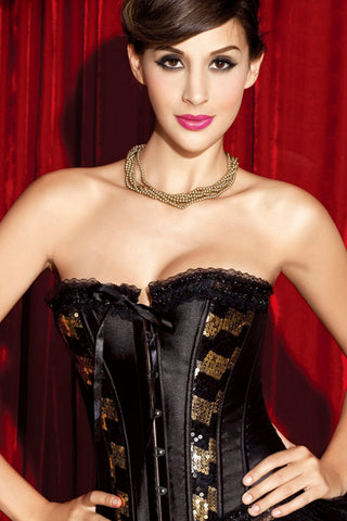 Black and Gold Satin Overbust Corset