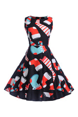 Black Christmas Socks Swing Dress