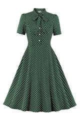 Green Polka Dot Bowed Swing Dress