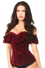Top Drawer Dark Red Velvet Off-The-Shoulder Steel Boned Corset
