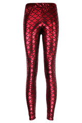 Atomic Red Fish Scale Low Waist Leggings