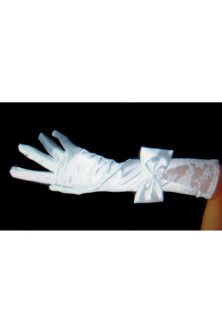 White Elbow Length Bowed Gloves