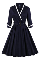Vintage Dark Blue Sailor Midi Dress