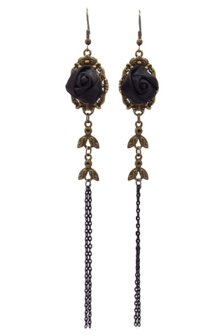 Black Rose Tasseled Earrings