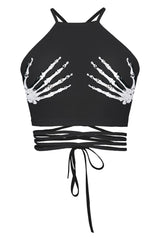 Black Gothic Lace-Up Crop Top