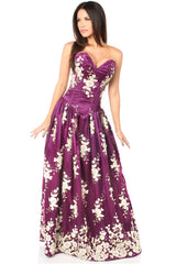Top Drawer Premium Plum Floral Steel Boned Long Corset Dress