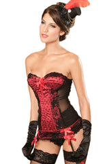 Red Dotted Satin and Black Lace Bustier