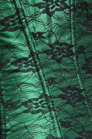 Lucky Green and Black Overbust Corset