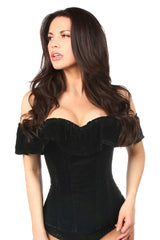 Top Drawer Black Velvet Off-The-Shoulder Steel Boned Corset